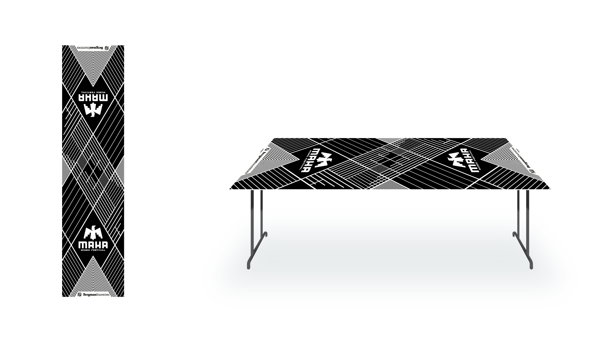 Pong table design for promotional products firm Bergman Incentives, to be displayed at Maha Music Festival