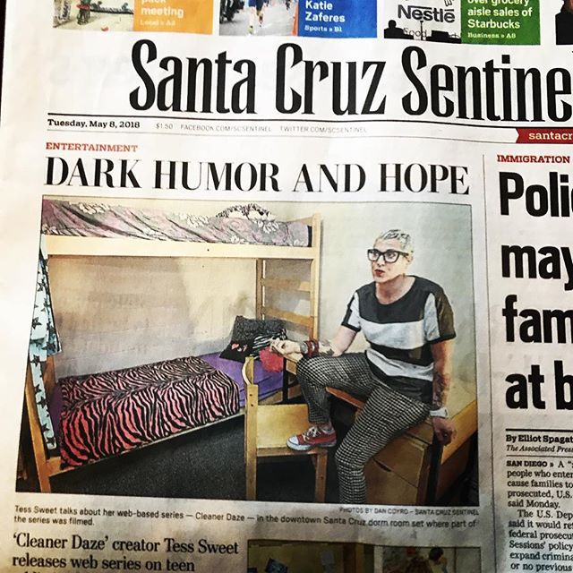 Dark humor and hope! @cleanerdaze is front page news! #loudandclean #recoveroutloud #cleanerdaze #recovery #sobriety #soberaf #cleanaf #webseries #womendirect #tesssweet