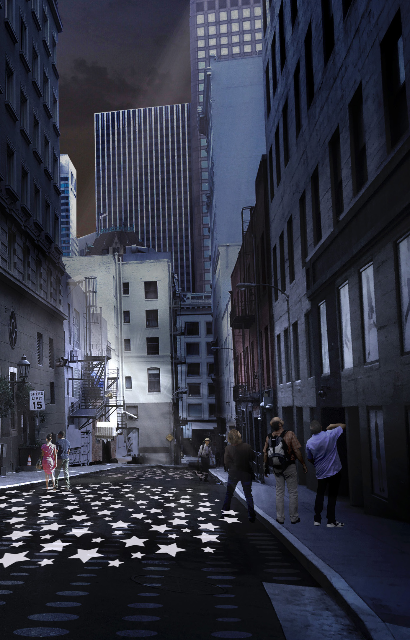 *A light projection show could inspire a healthy nightlife in Union Square.