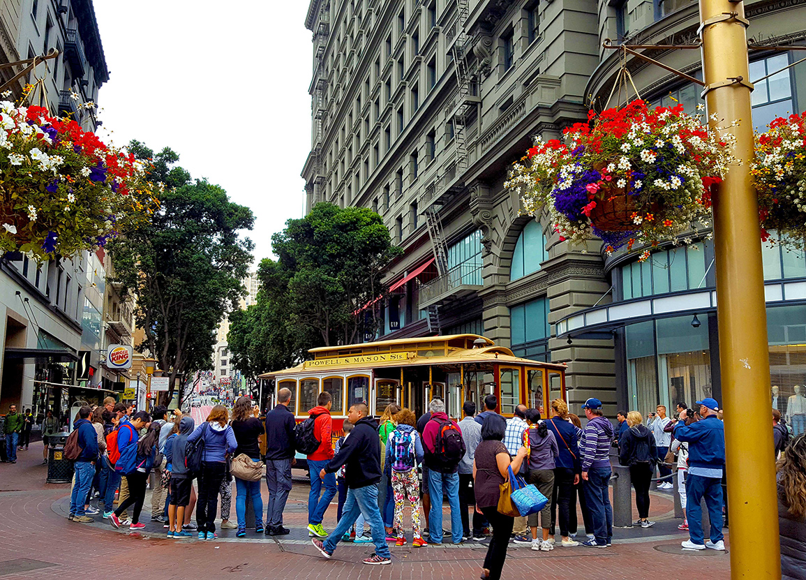 Installed flower baskets at the Cable Car Turnaround