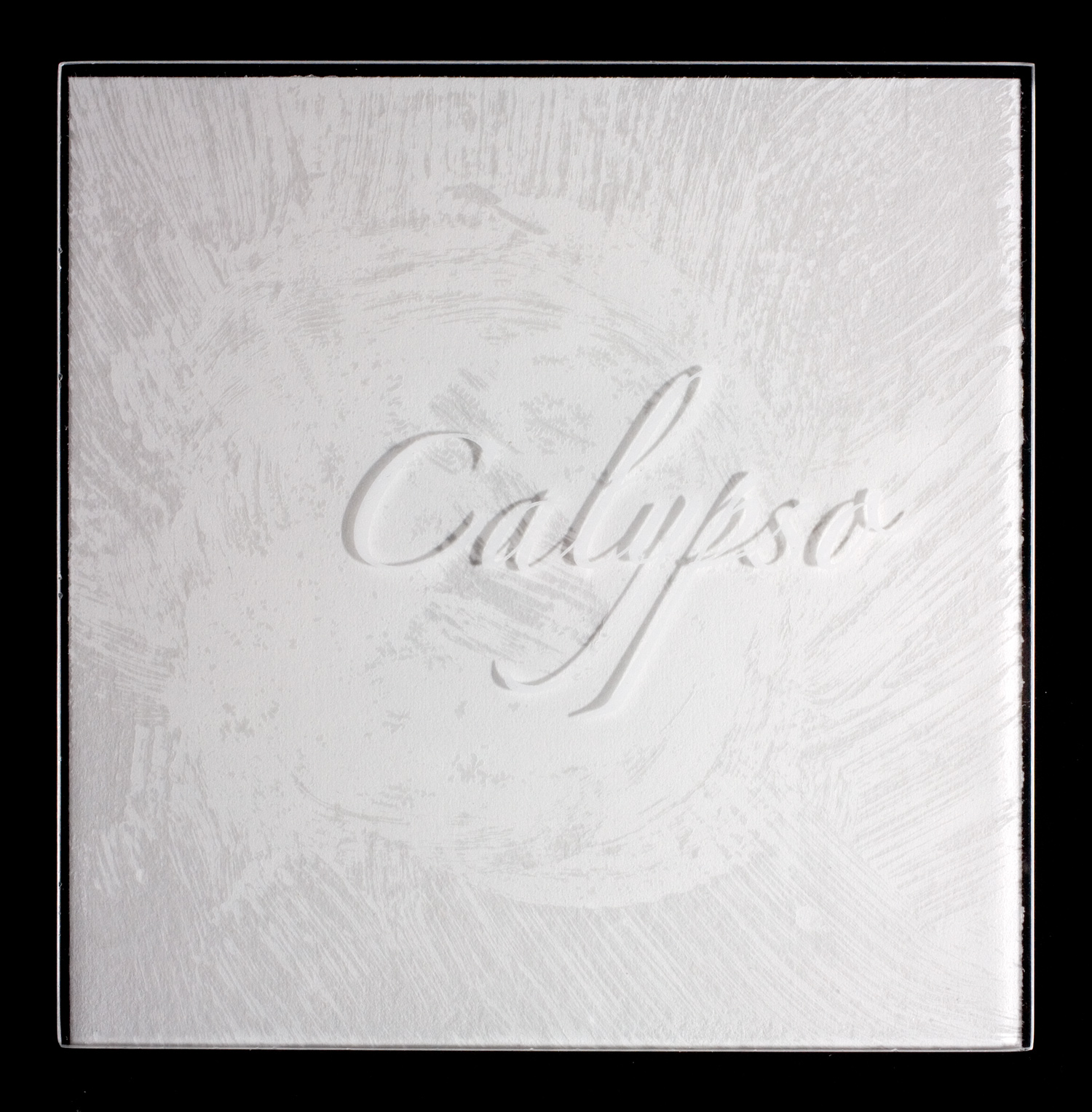 Plexi cover printed in white ink over white paper, the title is legible only by the shadow it casts.