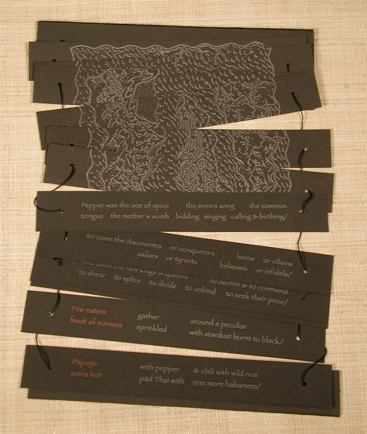 Book opened to show portions of the back and front