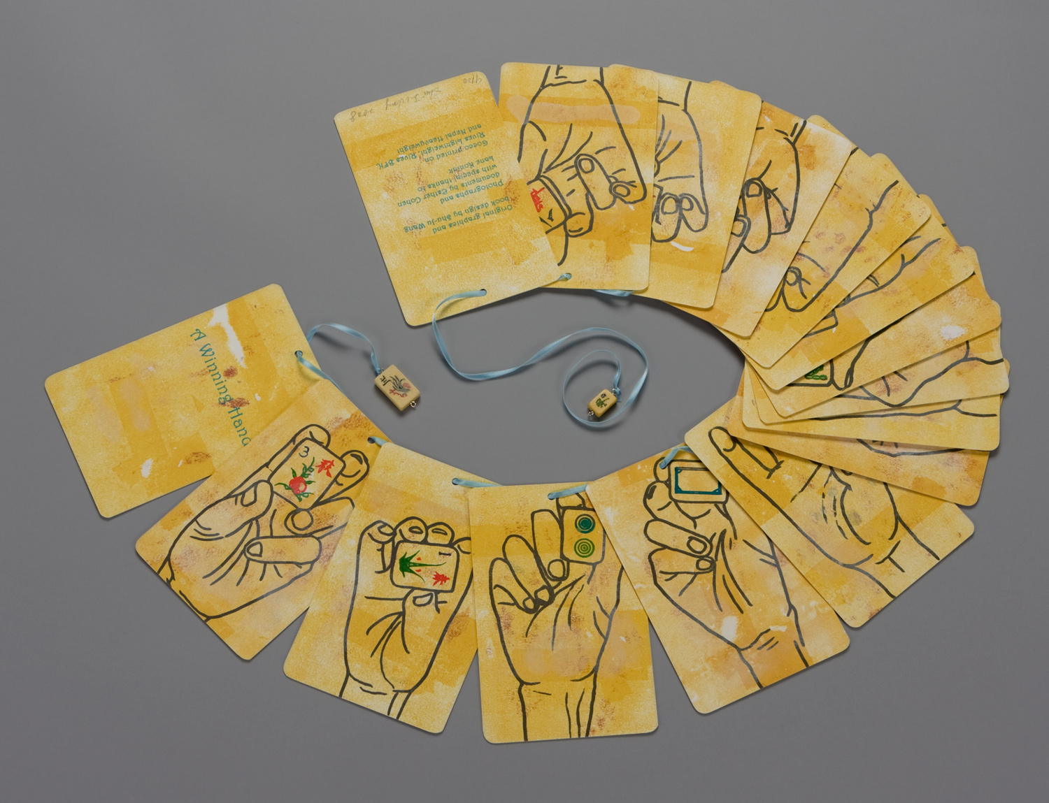 Book opened to show the back, a winning hand in 2008 American Mah Jongg.