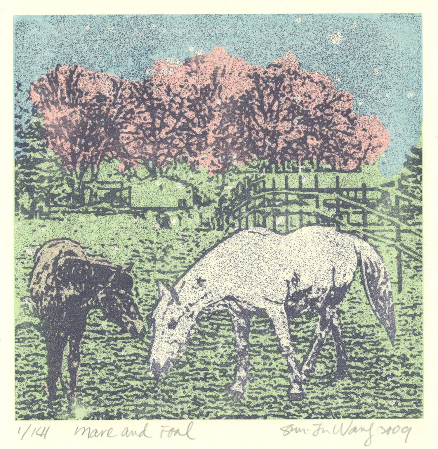 Mare & Foal (pastel)