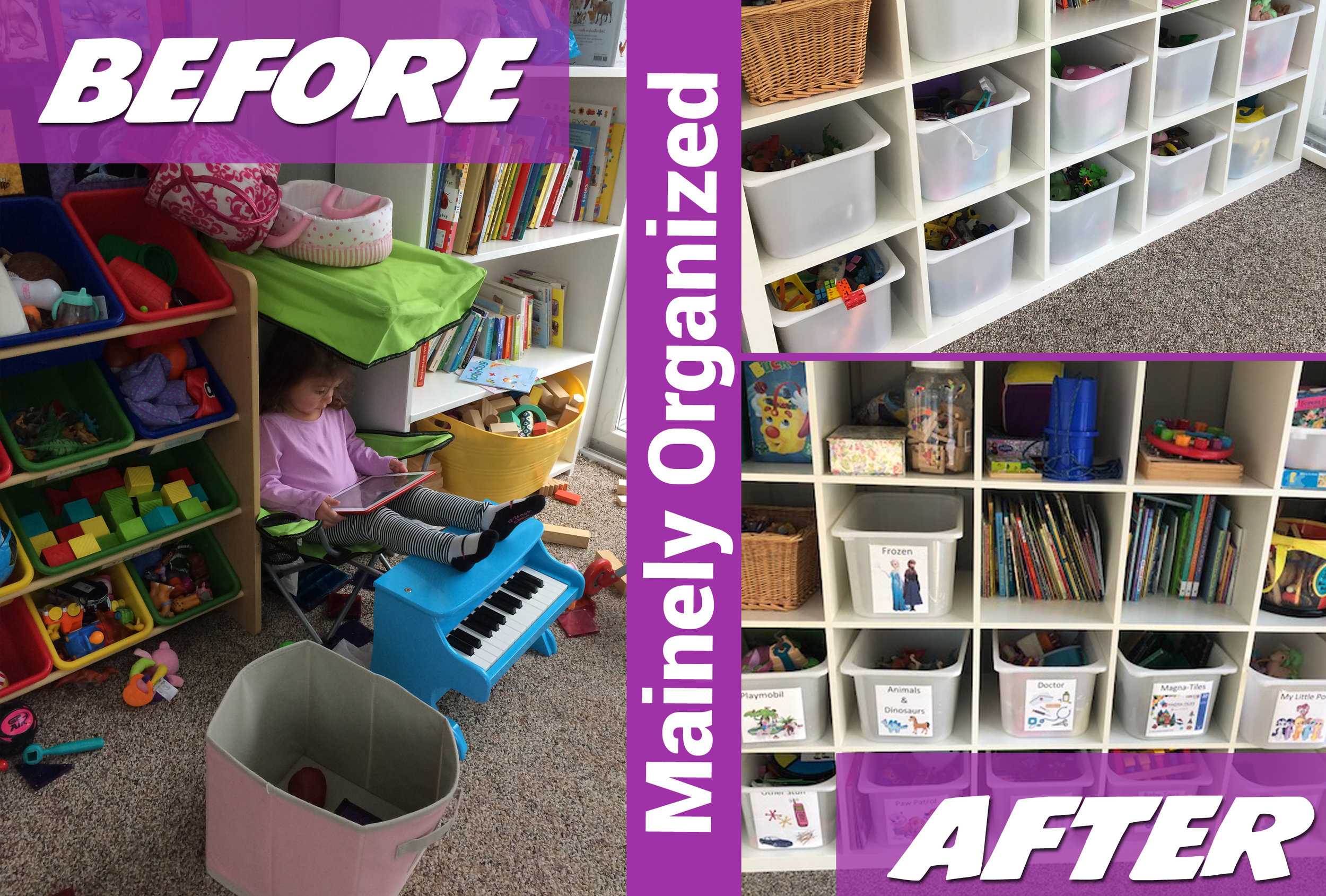 A toy room that needed some major organizing