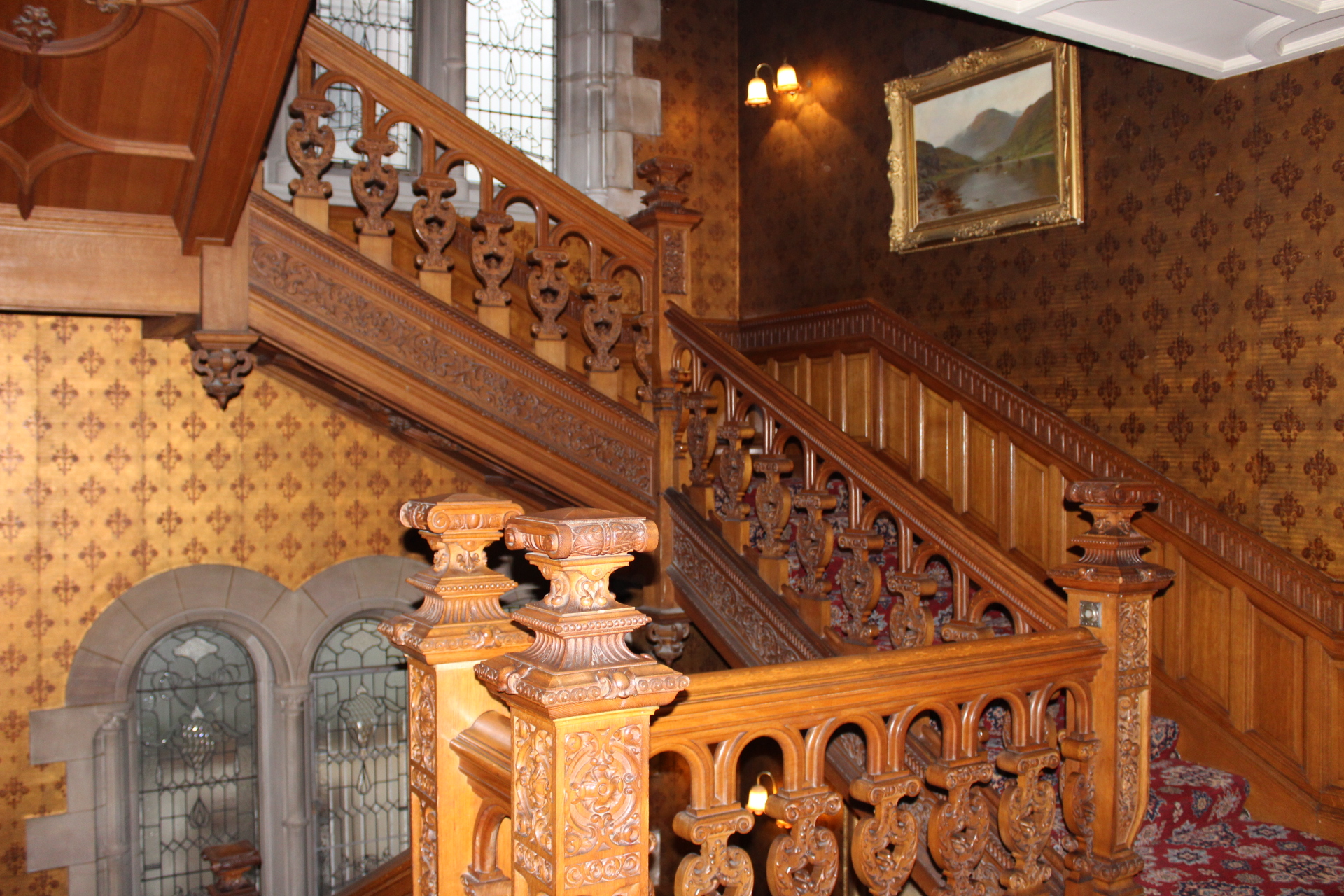 A stairwell to the bedrooms