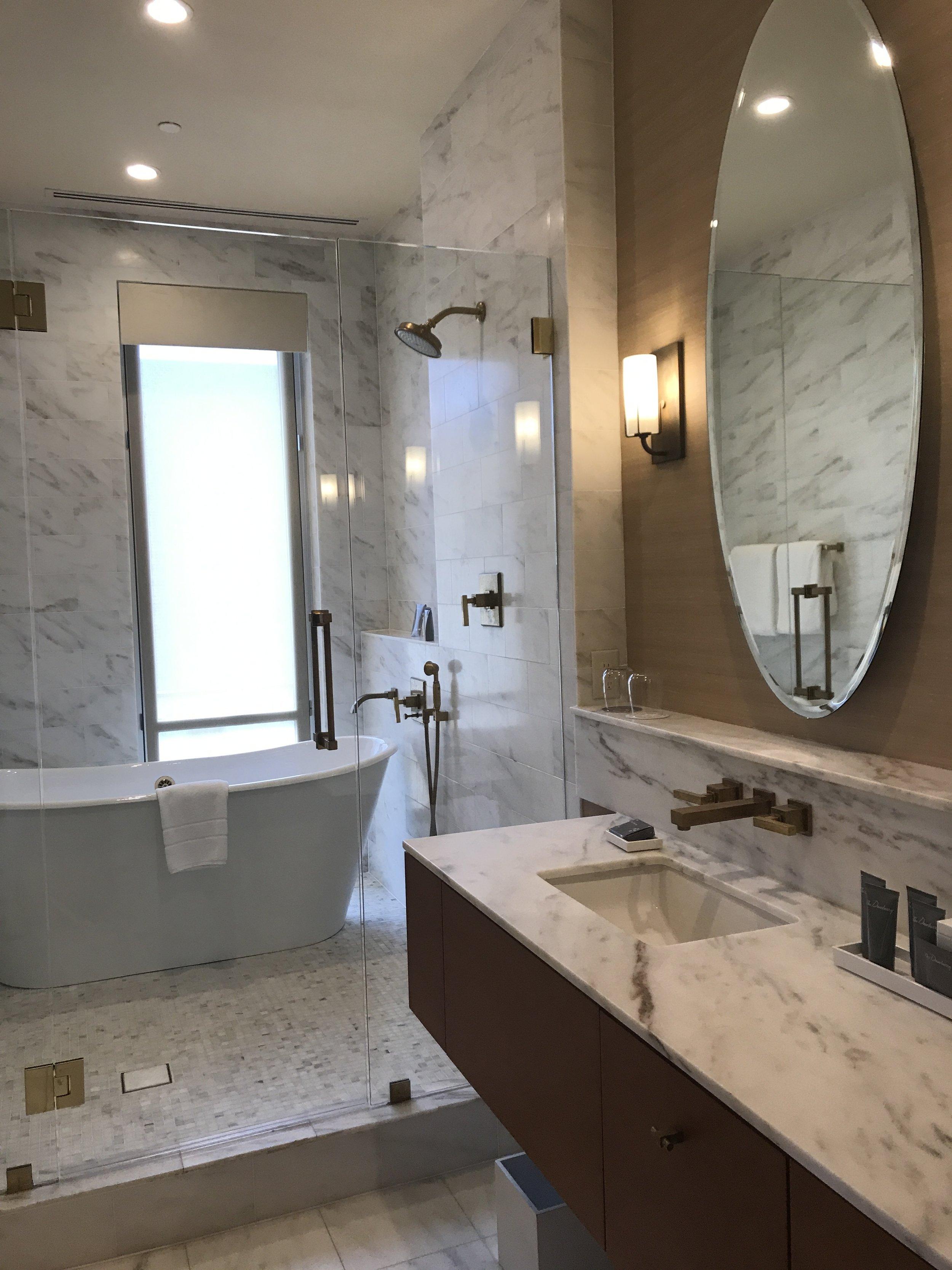 The spacious bathroom.