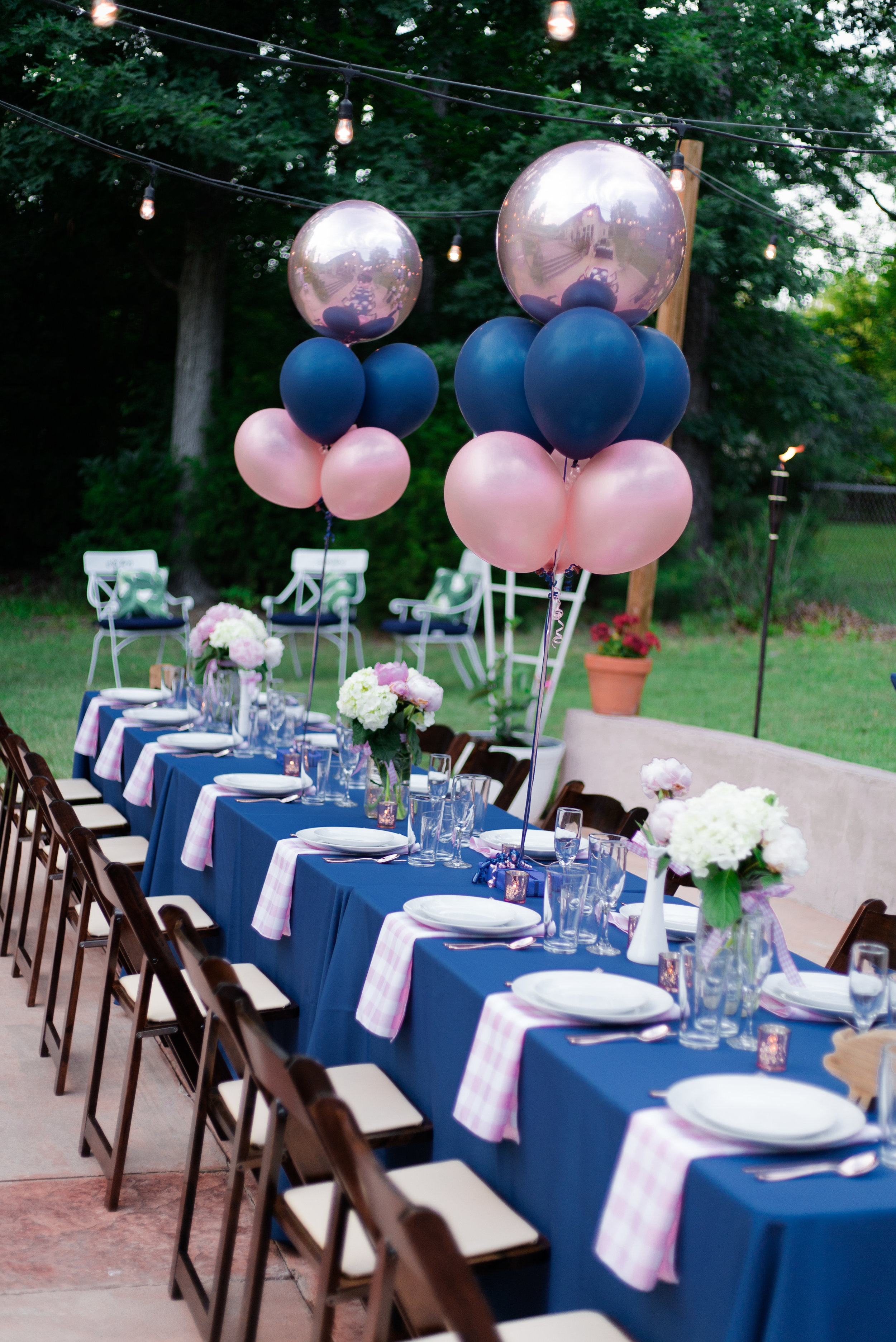Bubbly Bourbon and BBQ Pink Rose Gold and Navy Birthday Party