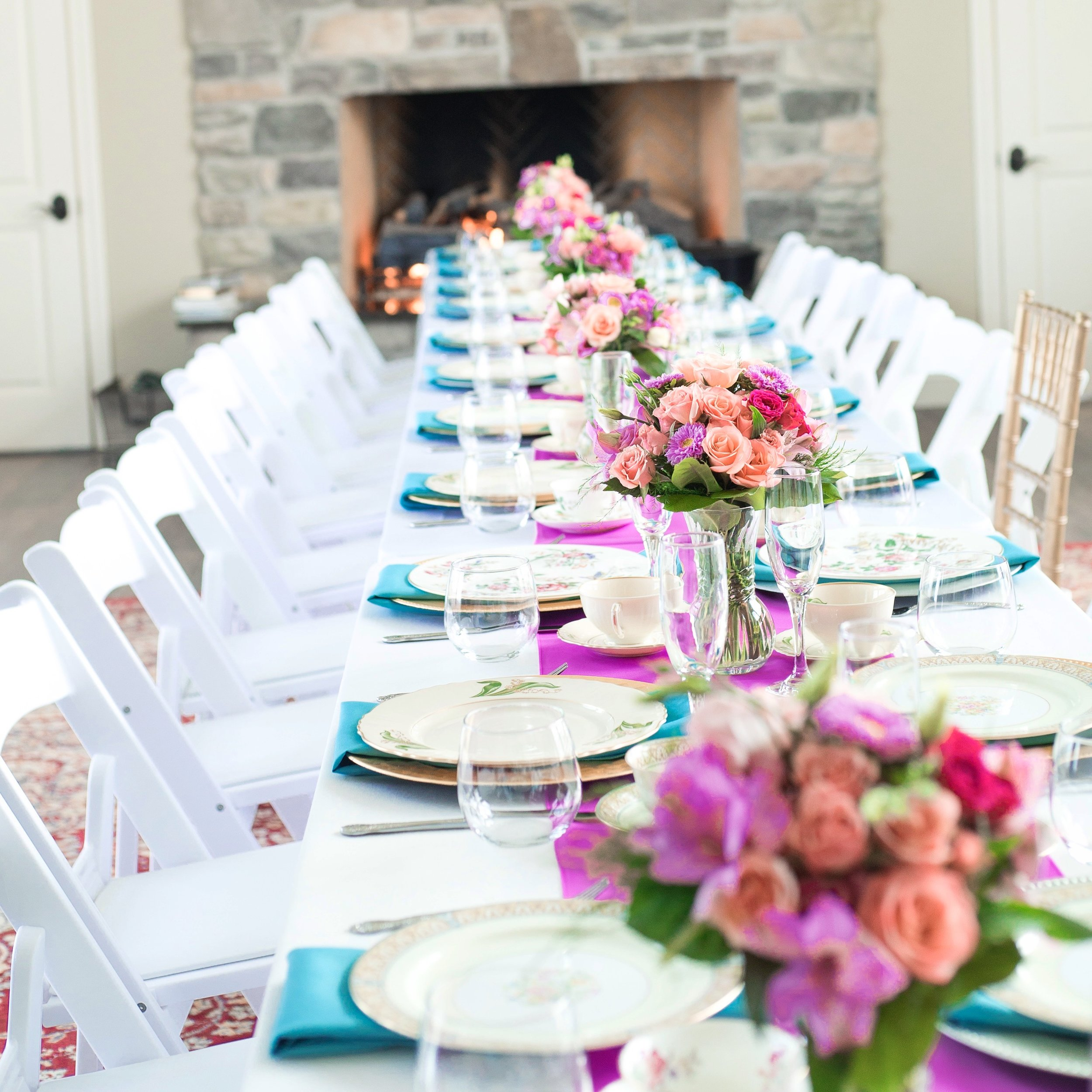 Colorful Pink and Teal Bridal Luncheon Tablesetting