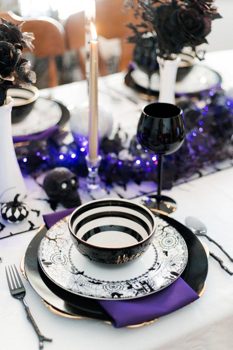 Halloween Purple Black and White Tablescape