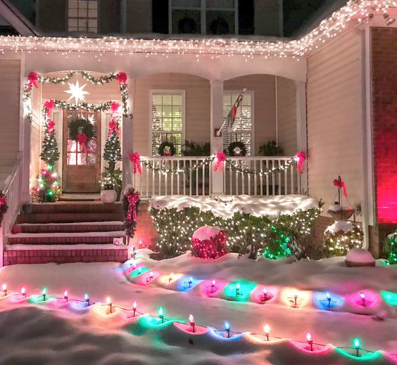 Multicolor Outdoor Christmas Lights Snow