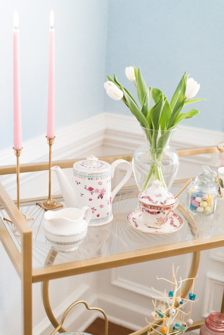 Easter and Spring Tea Party Bar Cart