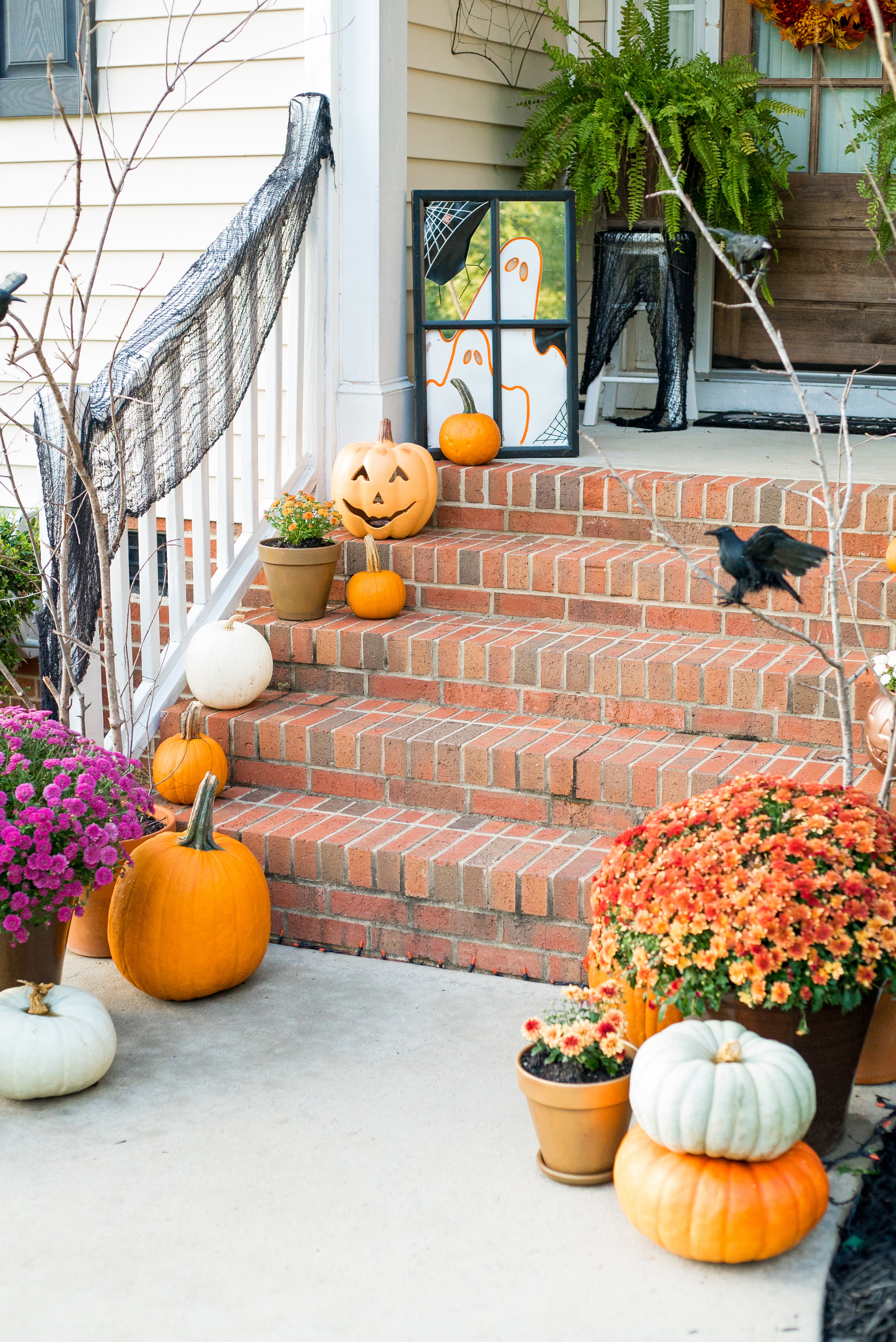 Traditional Halloween Porch Pumpkins Ravens Mums