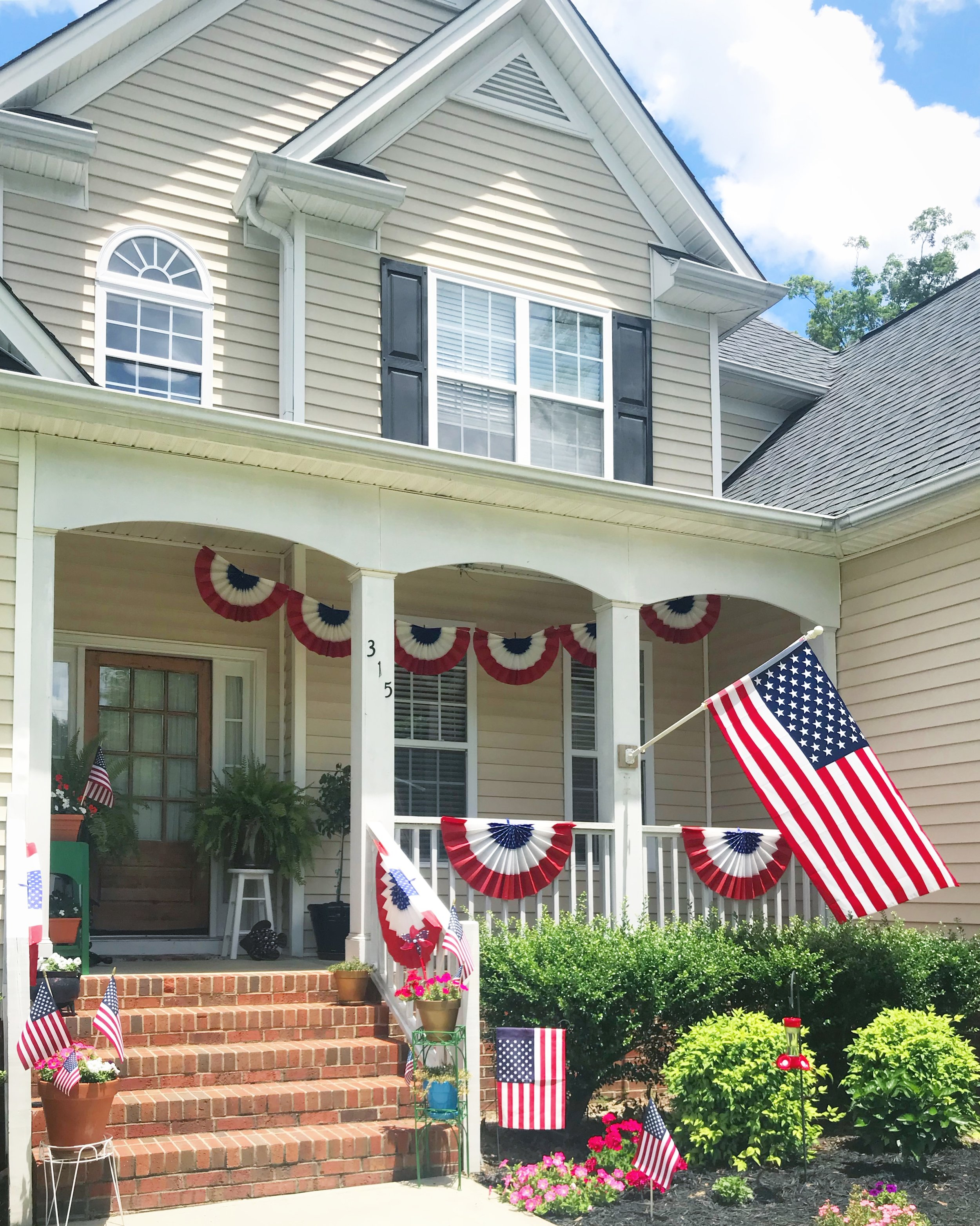 4th of July Bunting and American Flag Porch Decorations