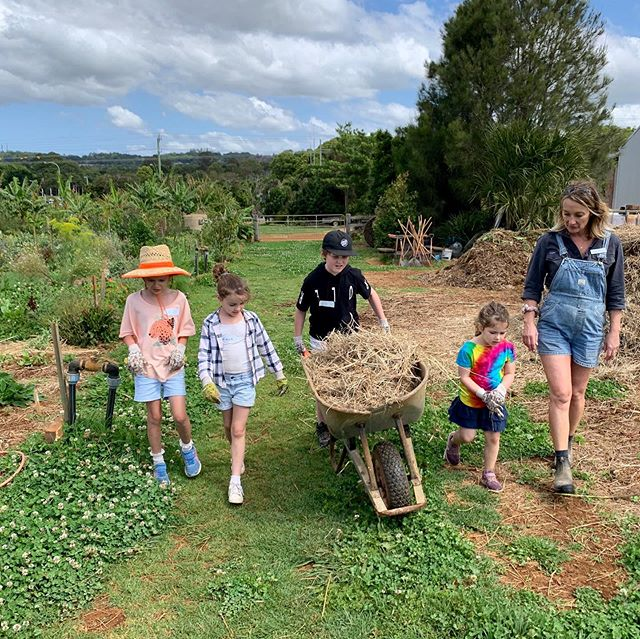 Mini Farmers off to clean the chicken 🐓 coop and make their nesting boxes cosy. . . #farmkids #fun #school #naturalkids #kids #workshops #farmanimals #spring #byronbay #pigs #cows #flowers #beneficialbugs #veggies #chickens #herbs #bees #nature #organic #sustainable #ethical #cooking #craft #creating #sunflowers #gardens #healthy #happychickenshappyeggs