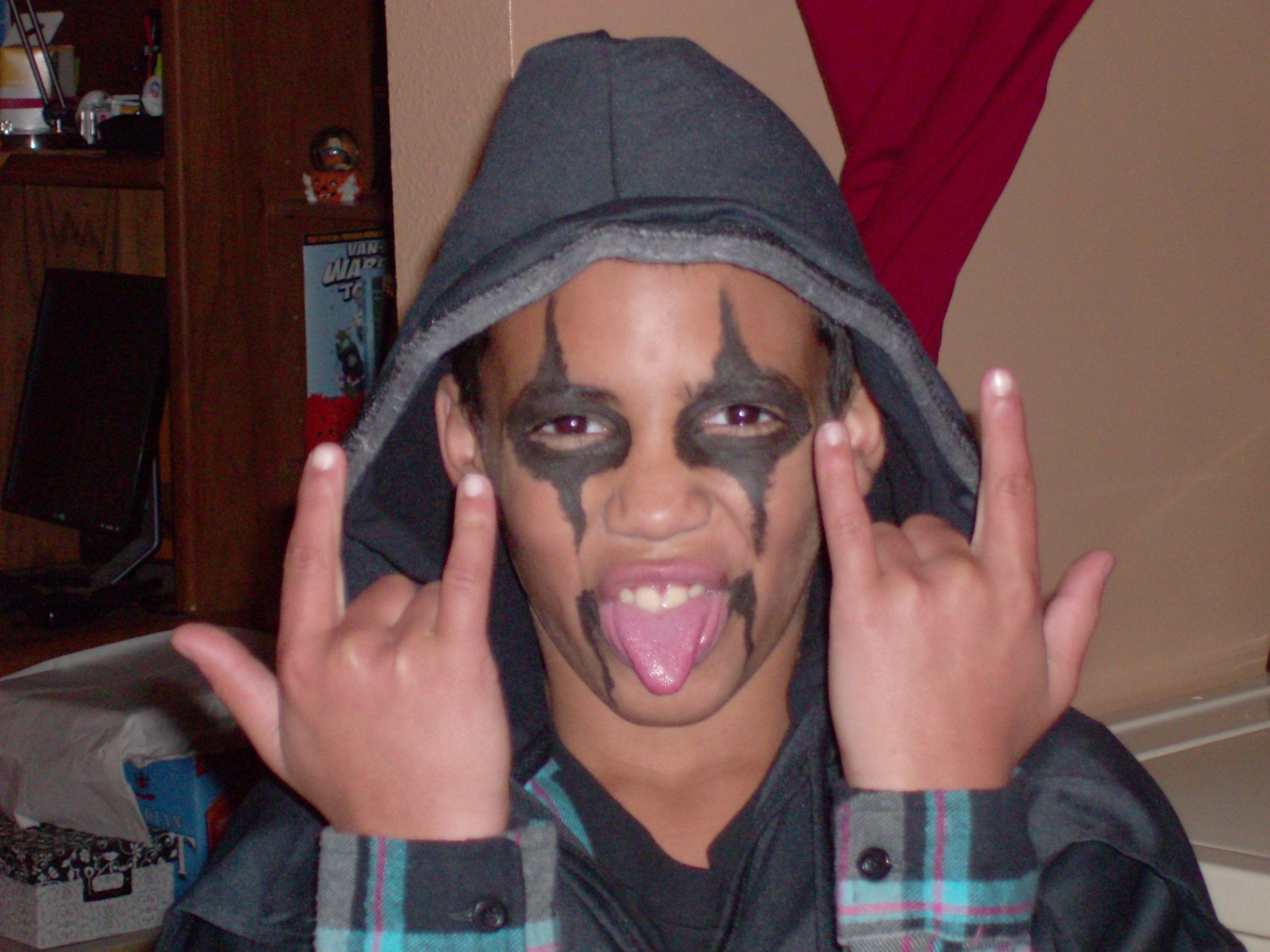 My Son... When he was to young to know what I dressed him up as for Halloween. I got tired of him being Batman 3 years in a row...