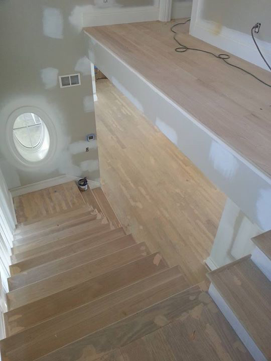 During Refinishing of Red Oak Hardwood Flooring