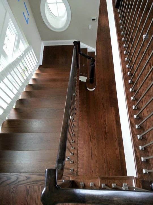 After Refinishing Red Oak Hardwood with a custom stain of MinWax dark walnut and English chestnut stains
