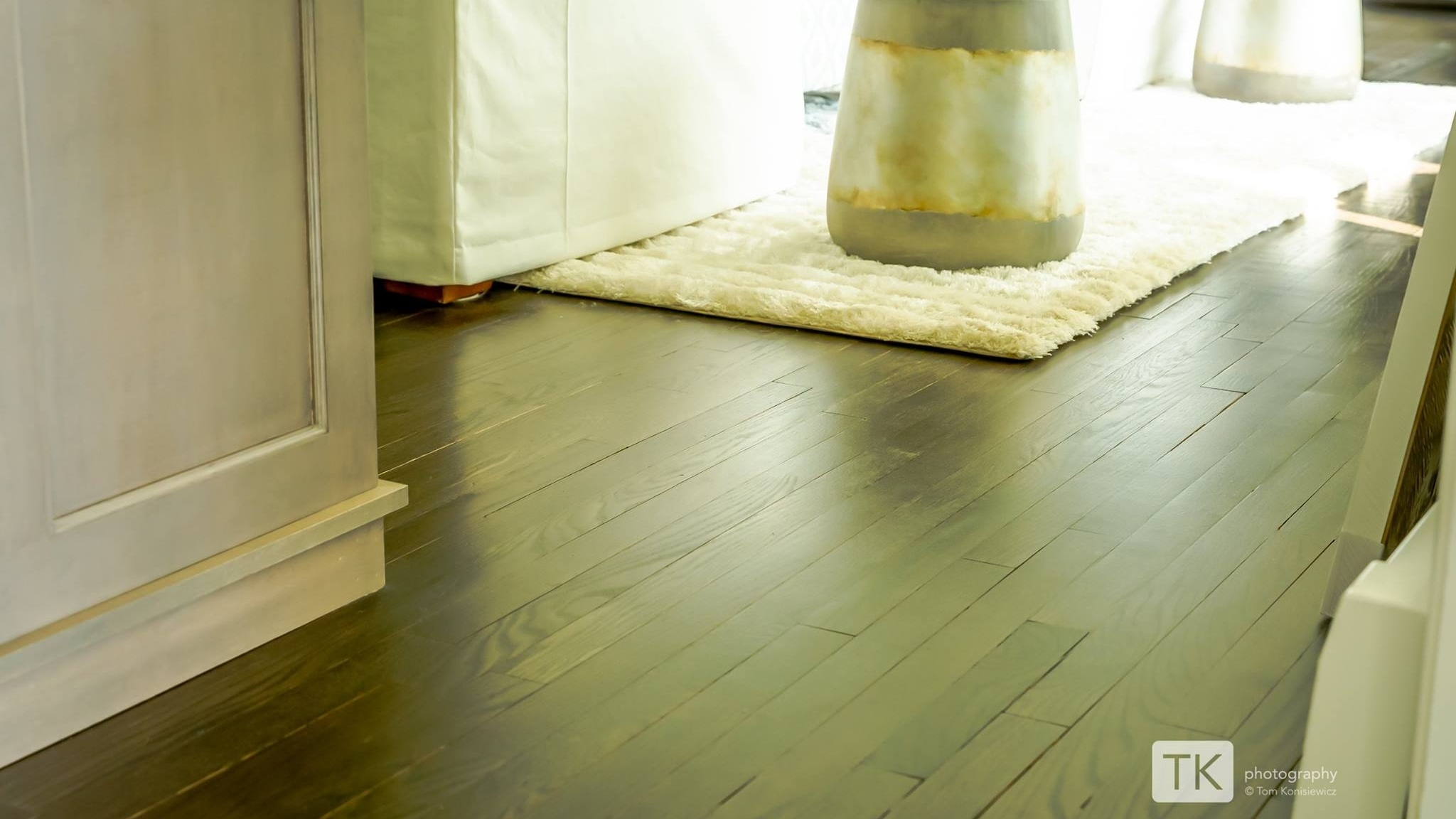 Ebony Stain on Refinished Red Oak Hardwood Floors