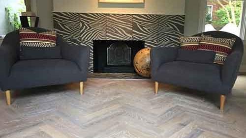 Custom Hardwood Floor Pattern & Stain