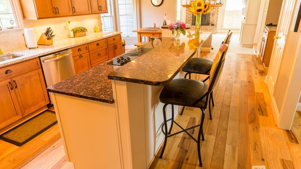 """kitchen with 5"""" kirf sawn hickory"""