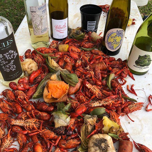 Nothing like a backyard boil with some Neat(o) wines!  #sundaydads #julesmelange #whiteyeti #tuttifruitti #daywines #motherrock #vendingmachinewines Thanks Paternostro fam!