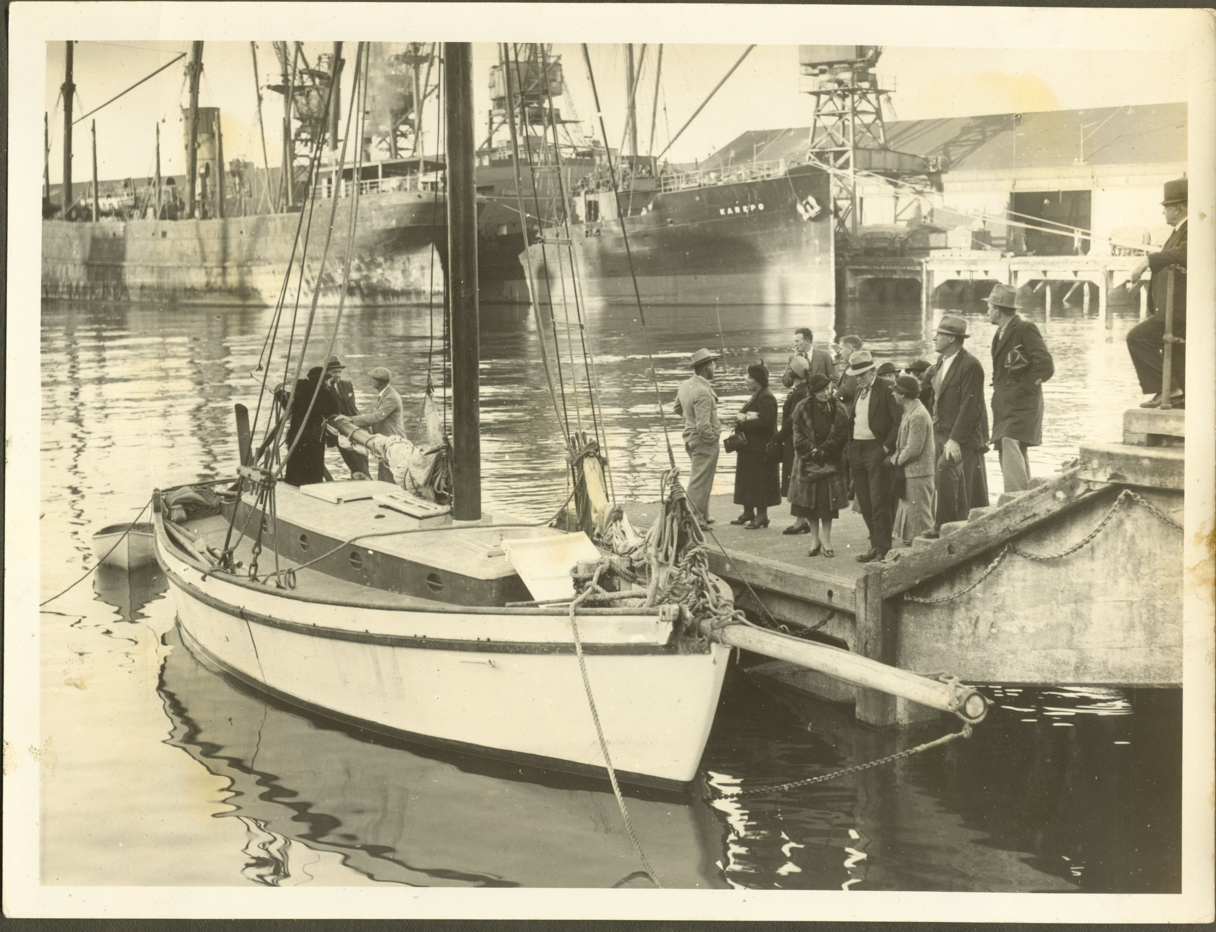 8. Ngataki alongside warf with a wecoming party attending - Copy.jpg
