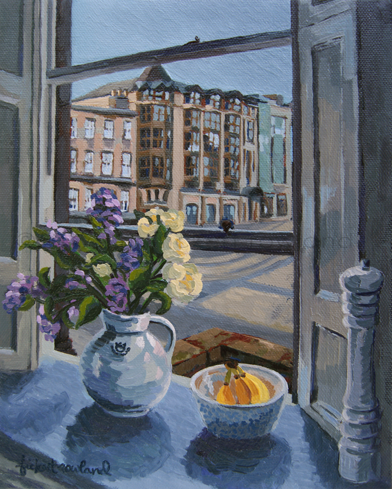 """Lilacs Over Queen Street, Edinburgh""  8 in x 10 in"