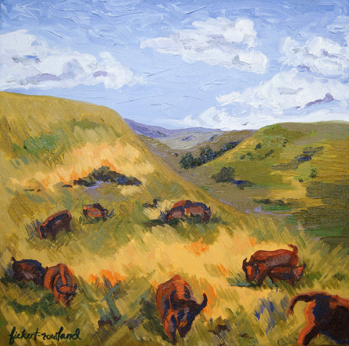 """The Promise of Return- Bison on Tall Grass Prairie of Flint Hills""  12 in x 12 in"