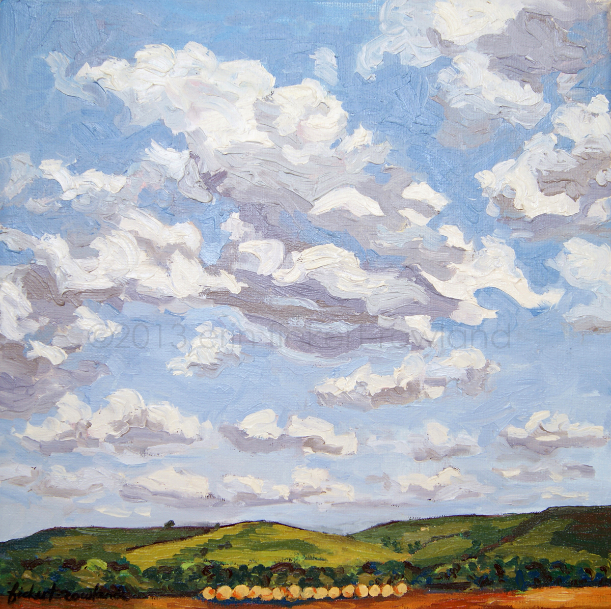 """Cumulus Clouds Over Flint Hills""  12 in x 12 in"