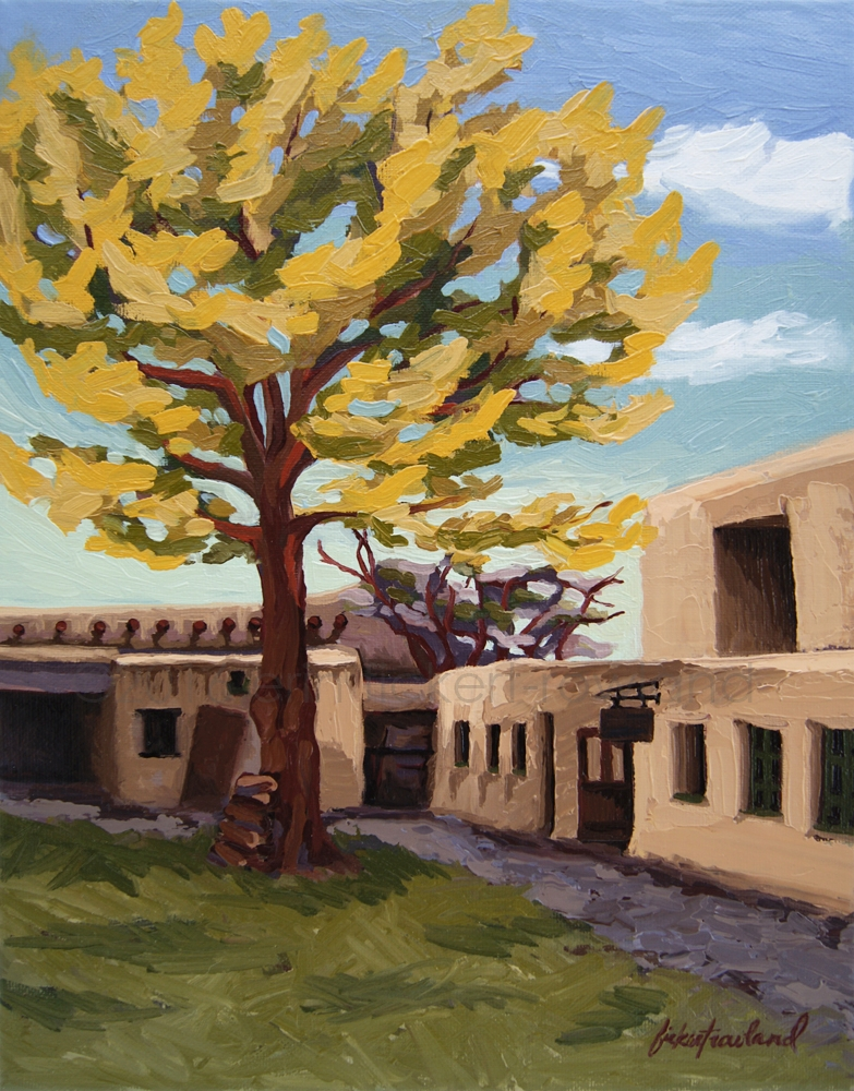 """A Tree Grows in the Courtyard, Palace of the Governors, NM""  11 in x 14 in"