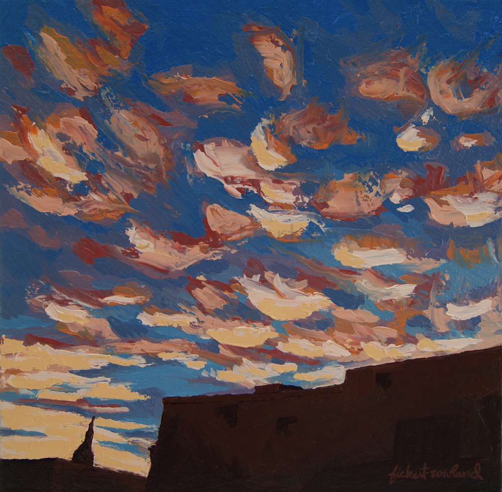 """Sunset Clouds Over Santa Fe""  12 in x 12 in"