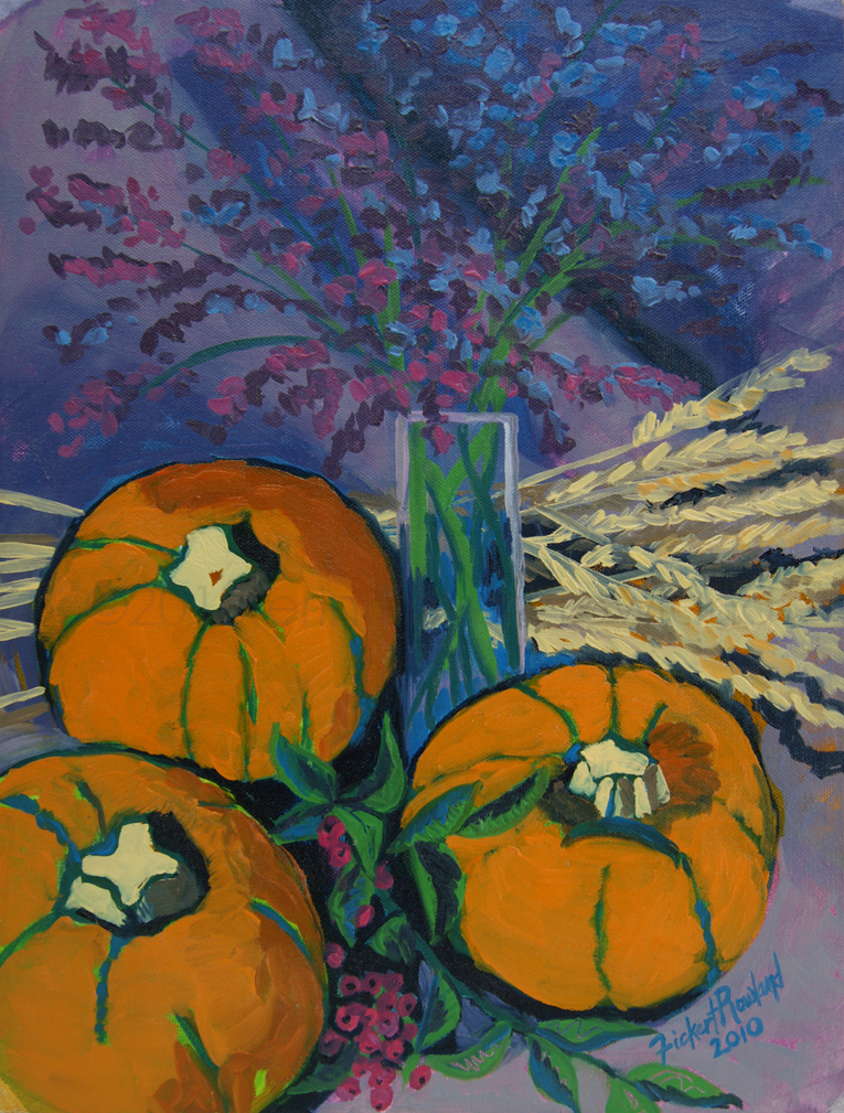 """Pumpkins and Wheat""  12 in x 16 in"