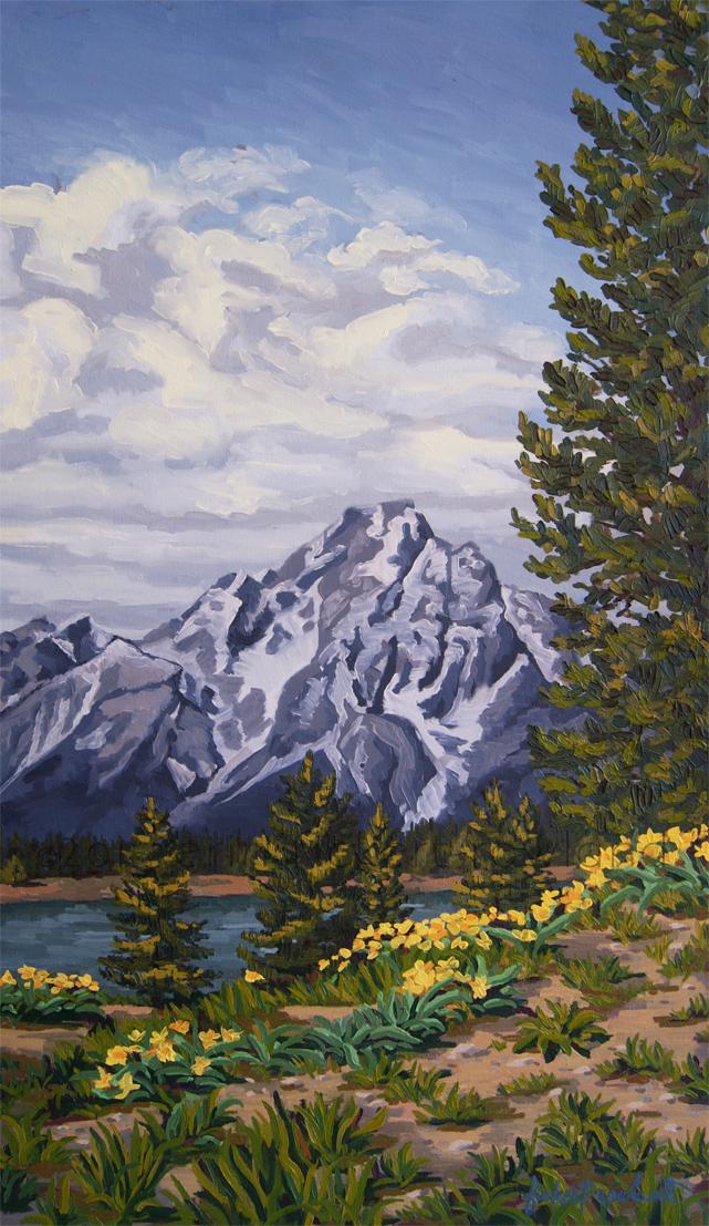 """Marina's Edge, Jenny Lake, Grand Tetons""  18 in x 32 in"