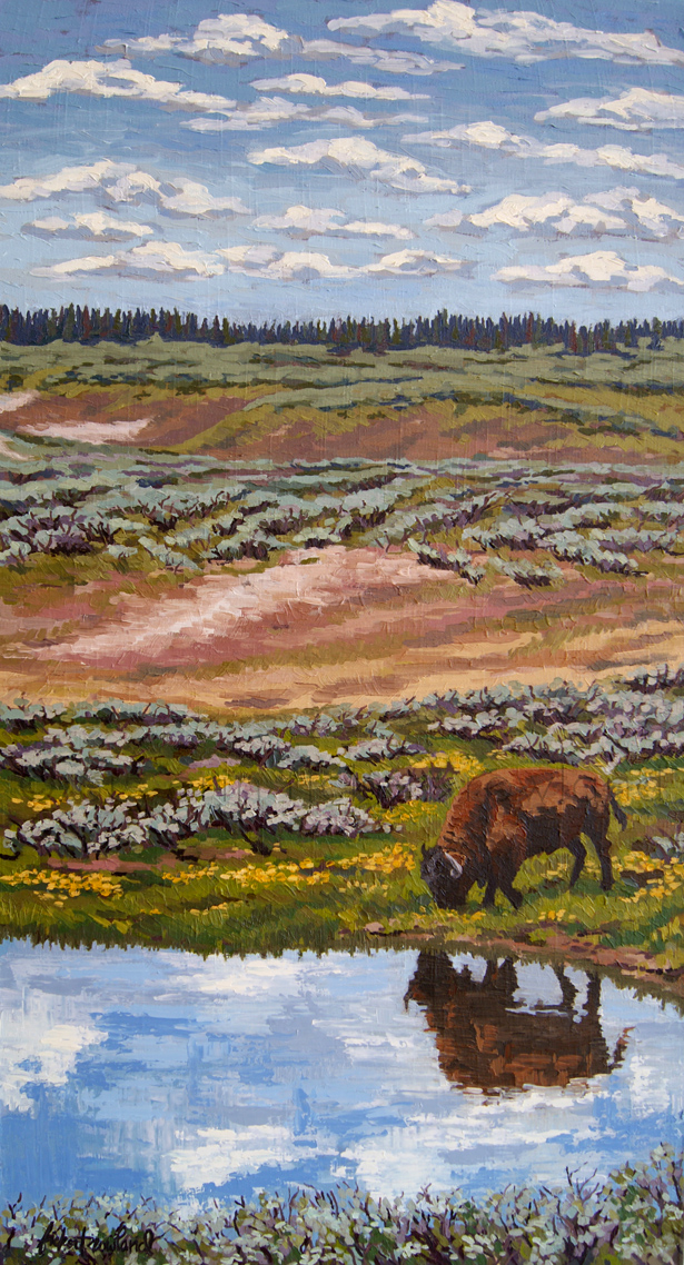 """Yellowstone Reflections""  13 in x 36 in"