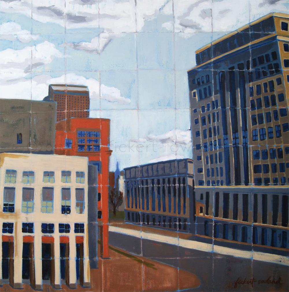 """""""DAM City View, Denver""""  18 in x 18 in"""