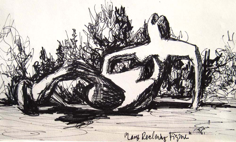 """Basking"" sketch by Erin Fickert-Rowland after ""Large Reclining Figure"" by Henry Moore"