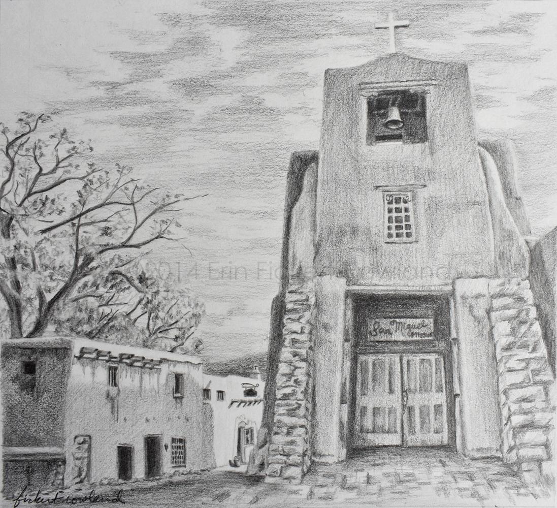 """Barrio de Analco, Santa Fe""  8 in x 9 in  Unmatted"