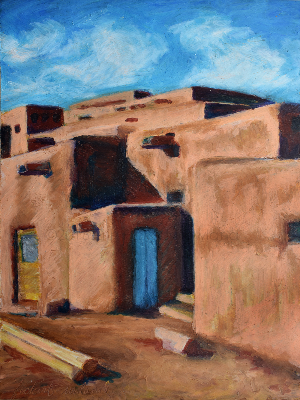 """""""Hlauuma, Taos Pueblo (North House)""""  9 in x 12 in  Matted to 11 in x 14 in"""