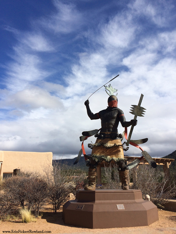 The Spirit Dancer by Craig Dan Goseyun in front of New Mexico Museum of Indian Arts and Culture