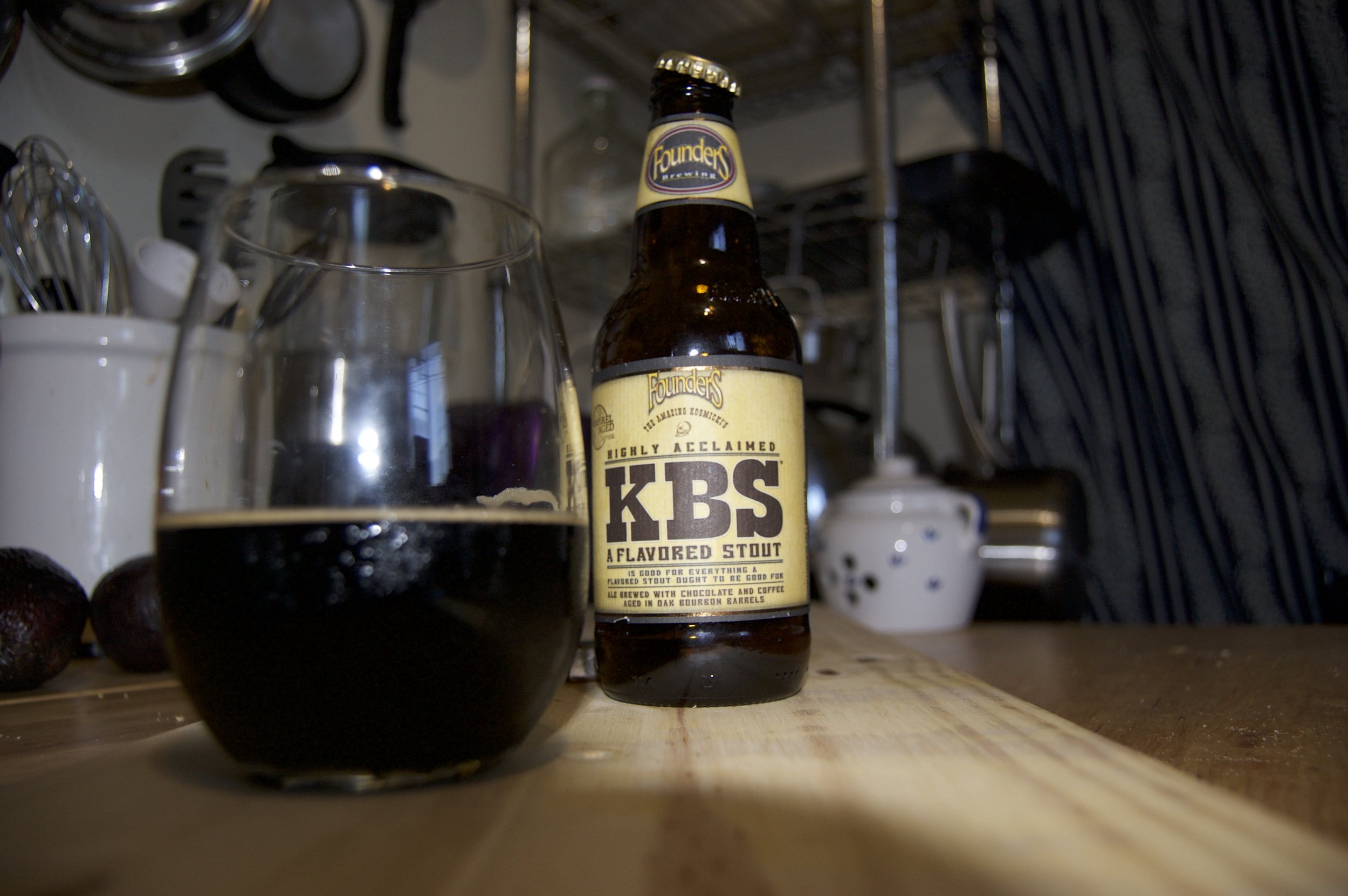 KBS Stout - This stout is epic. Rare and rich. It's thick, as a breakfast stout tends to be.It reminds me of dark storm clouds, ready to drop sweet sweet rain after weeks of horrible dry sunshine. I want to sit on a wood porch, in a thunderstorm, sip on this while reading comic books.I decided to take it's temperature as I drank it. I noticed that when it became slightly warm it's flavors became more bold. At 56.8 it really shined. That's a good beer.