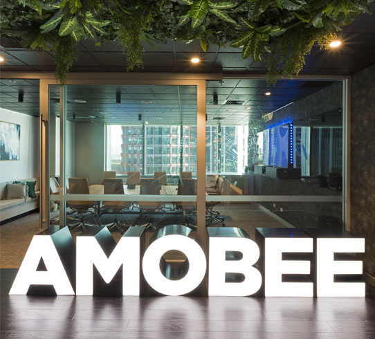 Amobee - Designed by the inimitable Bold Collective, this 650m2 fit-out for Amobee incorporated modern spaces such as all-hands tier seating areas, library, wellness centre, a new bar booth seating and all workstations, in a live environment. The playful features which adorn the space such as bean bags, swing chairs, faux plants, mobile whiteboards are the unmistakeable clues to Bold design.