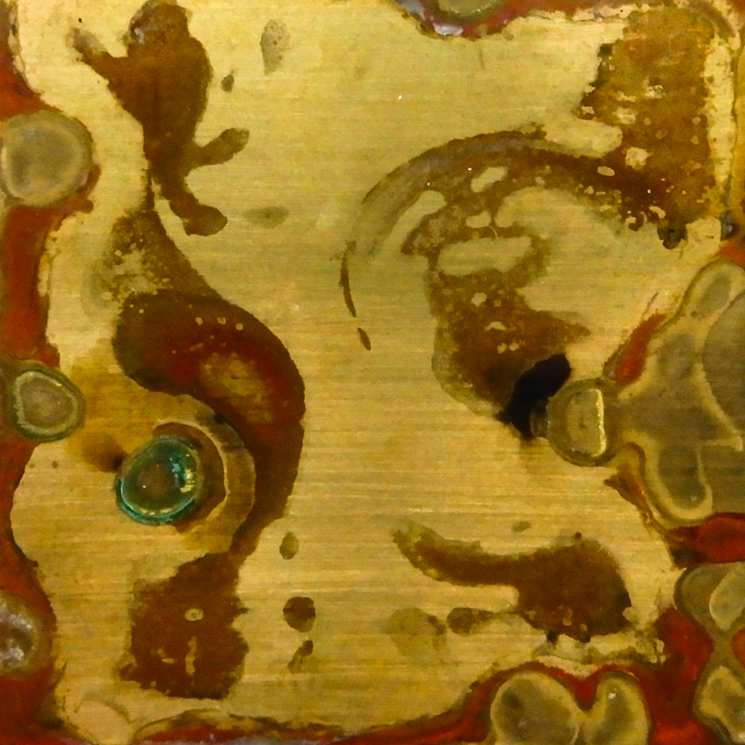 Annealed and sanded by sandpaper. Soaked in soy sauce for ten days. Size: 2 x 2 in
