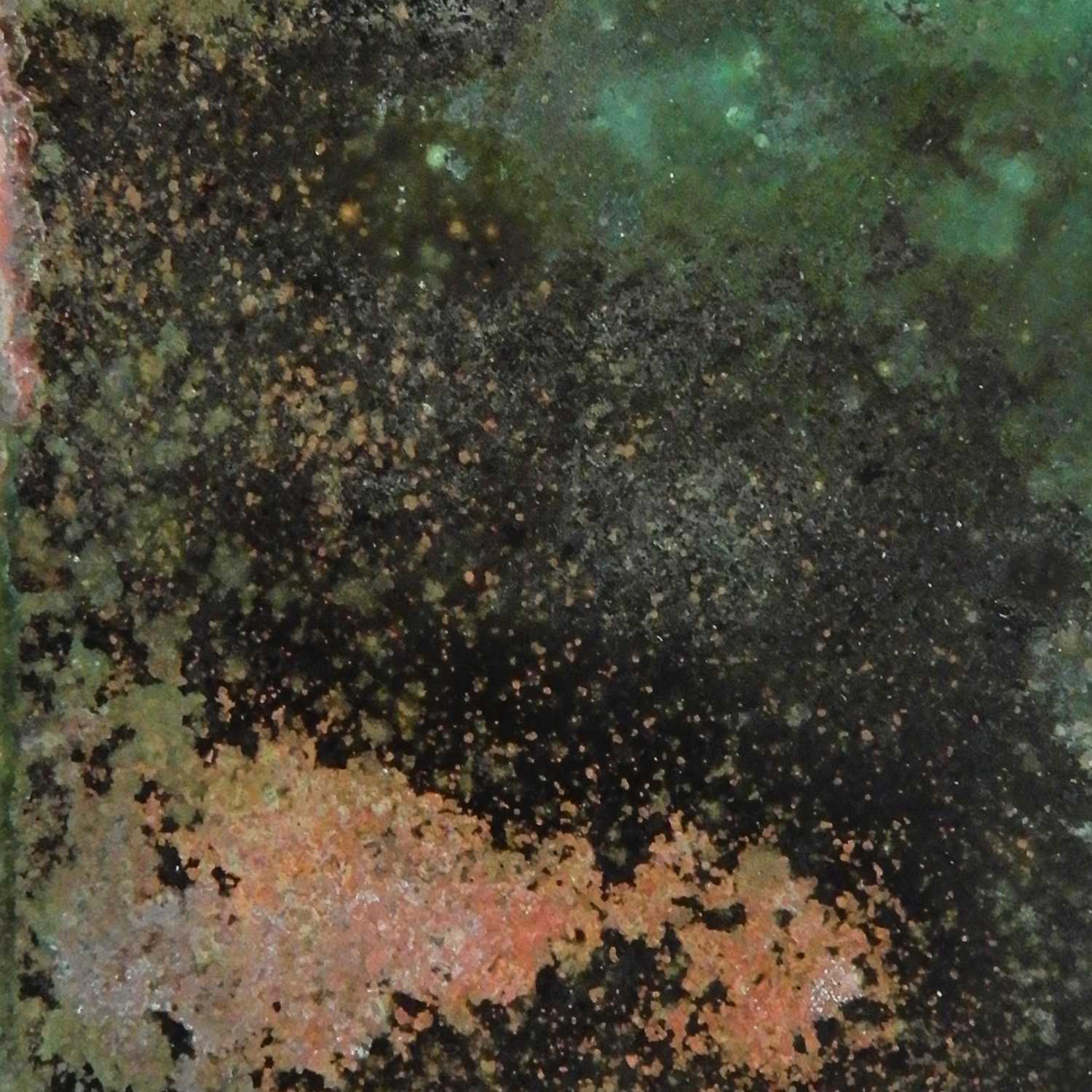 Annealed and sanded by sandpaper. Soaked in solution of copper sulfate, kosher salt and water for four days.  Size: 2 x 2 in