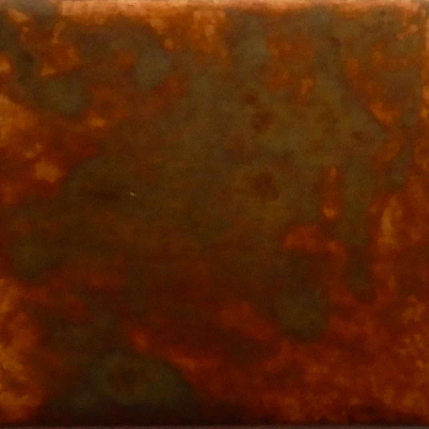 Annealed and sanded by sandpaper. Diluted liver of sulfur added to the surface. Size: 1 x 1 in