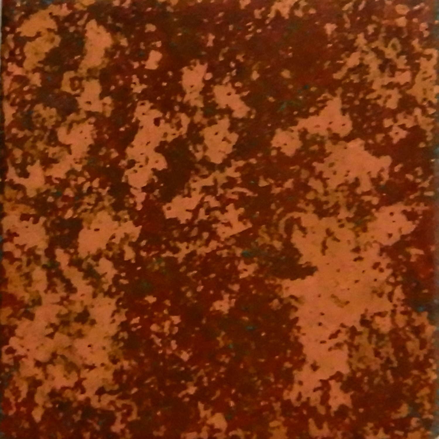 Annealed and sanded by sandpaper. Buried in mixture of salt, bleach, and sawdust for seven days. Size: 1 x 1 in