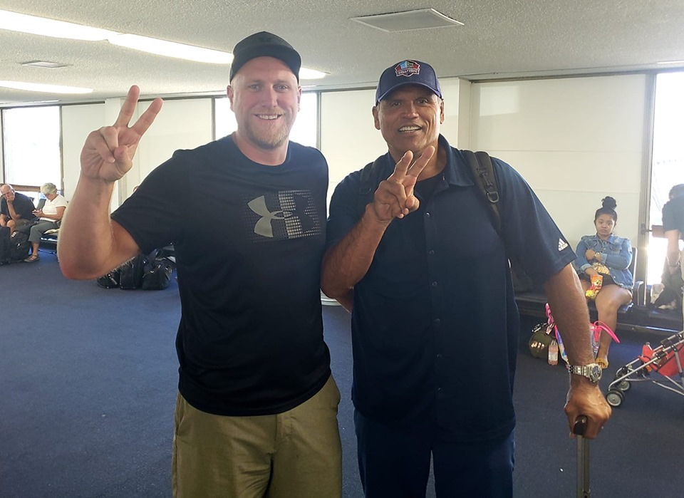 #77 Legends jacob Rogers and USC and NFL HOFer Anthony Munoz