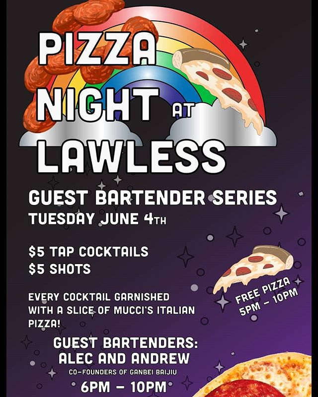 Come out to @lawlessdistilling on Tuesday for some delicious cocktails served up by the founders of Ganbei Baijiu! $5 cocktails and free pizza, see you there!