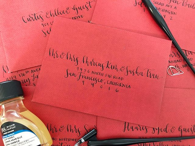 Finished these babies this weekend!! And also, anyone else obsessed with Always Be My Maybe on Netflix with Ali Wong and Randall Park?! Hehehe, LOVE!! . . . #moderncalligraphy #nibandink #nikkog #sumiink #handlettered #handlettering #calligraphy #seattlewedding #escortcards #weddingcalligraphy #seattleweddingcommunity #weddingplacecards #weddingenvelopes #envelopeaddressing #calligraphyenvelopes #weddinginvitation