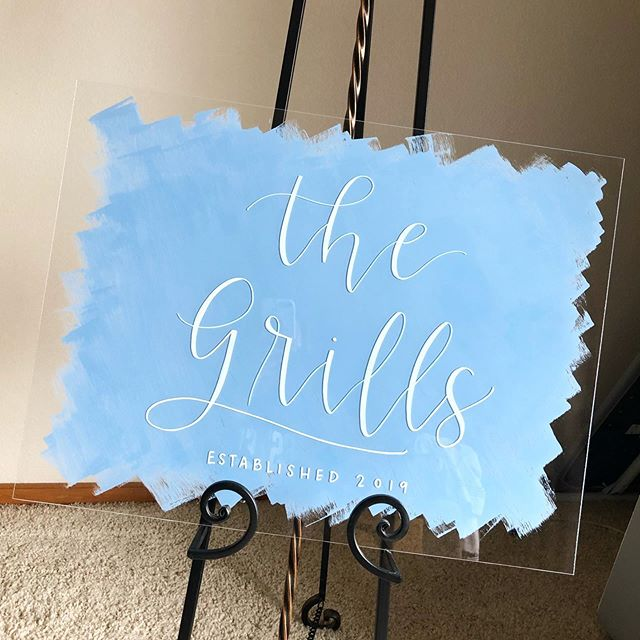One of my favorite signs to date!! Congrats to the Grills! . . . #handlettered #calligraphy #weddingcalligraphy #handwriting #handlettering #typography #weddingsign #acrylicweddingsign #acrylicsign #lettersandblisscalligraphy #sharpieoilmarker #moderncalligraphy #custommade